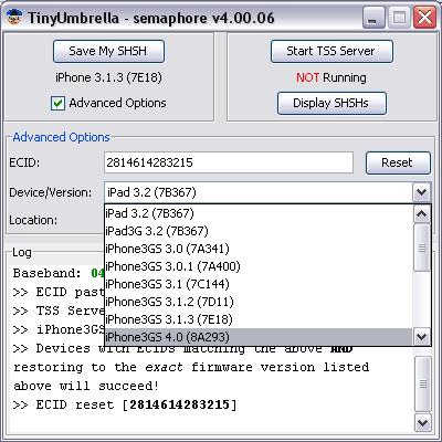 tinyumbrella 2 Anleitung: TinyUmbrella   SHSH Blobs für iOS4 sichern