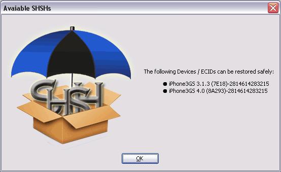 tinyumbrella shsh Anleitung: TinyUmbrella   SHSH Blobs für iOS4 sichern