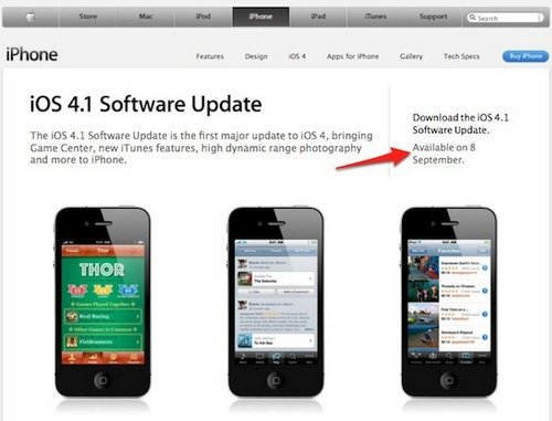 iOS 4.1 Update ab 8. September