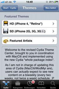 Cydia-Themes-Bereiche