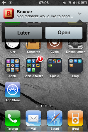 Mobile Notifier - Optionen