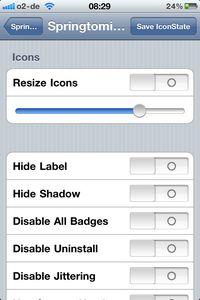 springtomize - Icons Einstellungen