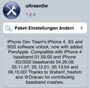 Ultrasn0w 1.2.3  Softunlock für iOS 4.3.3