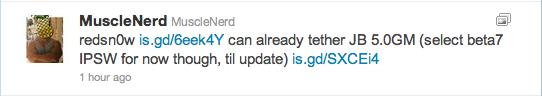 Tweet von MuscleNerd nach dem Release der iOS 5 GM