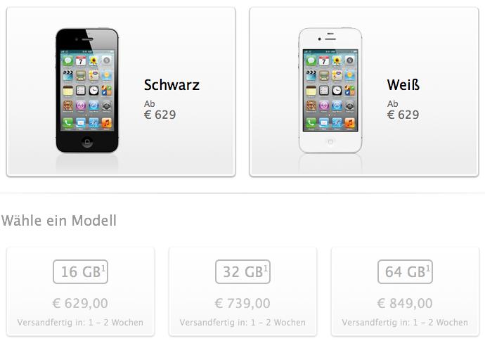 Bild des iPhone 4S im Apple Store Österreich