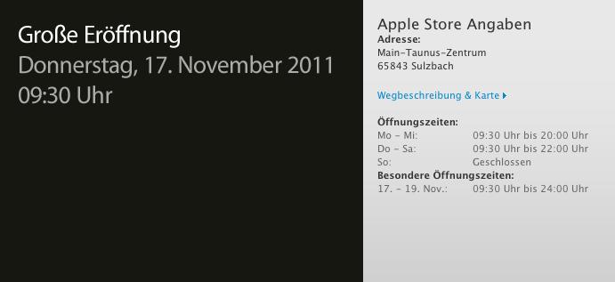 Die Öffnungszeiten des Apple Store Sulzbach