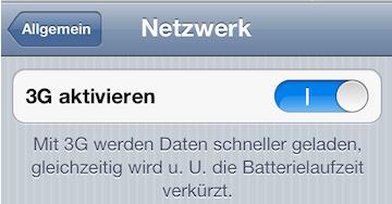 UMTS deaktivieren beim iPhone 4S