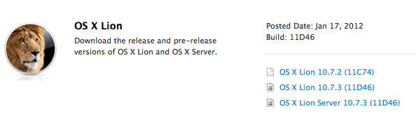 os x lion 10 7 3 build 11d46 Apple verteilt OS X Lion 10.7.3. Build 11D46 an Entwickler
