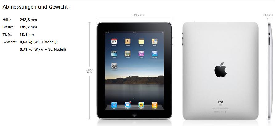 iPad - Abmessungen